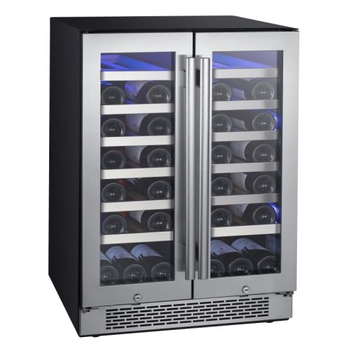"Avallon AWC241FD 42 Bottle 24"" Dual Zone French Door Built-In Wine Cooler-Built-in Wine Coolers"