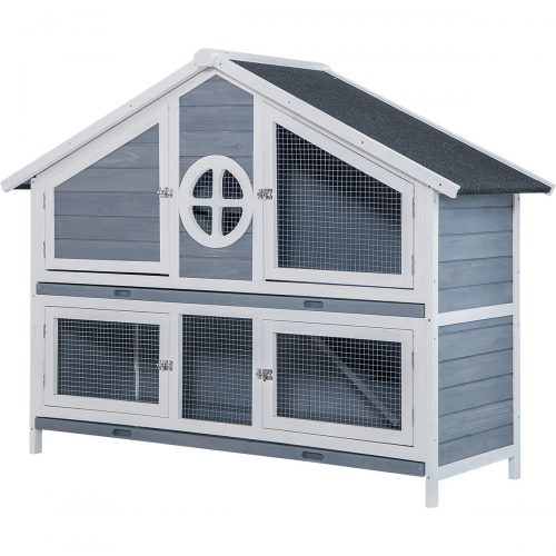 Purlove Rabbit Hutch Wood House Pet Cage For Small Animals