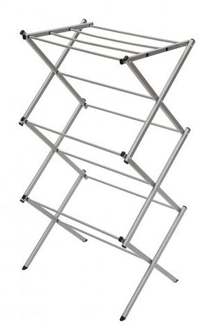 StorageManiac 3-tier Folding Anti-Rust Compact Steel Clothes Drying Rack