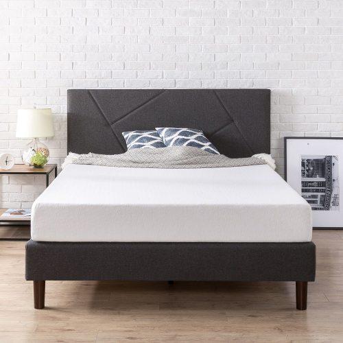 Zinus Upholstered Geometric Paneled Platform Bed