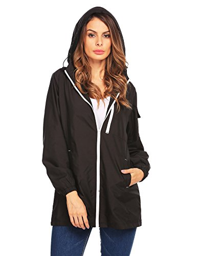 Beyove Women's Hooded Outerwear Hiking Waterproof Jacket Rain Coat