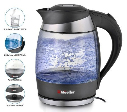 Mueller Ultra Cordless Electric Kettle Fast Boiling Glass Tea-Water Boilers