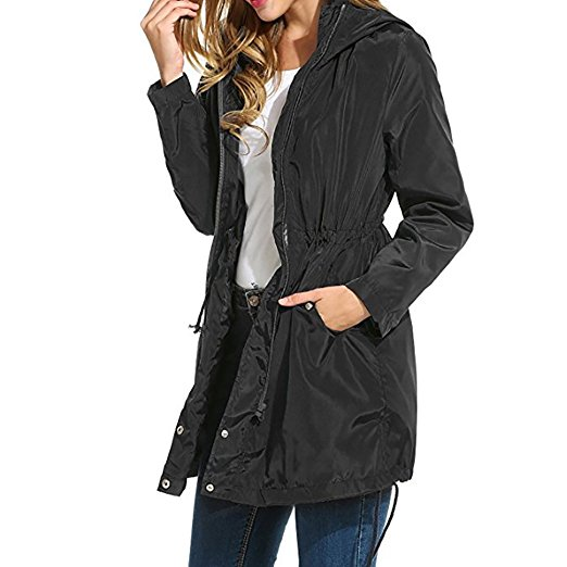 Elevate Tincup Womens Rain Wind Waterproof Lightweight Jacket Black All-Sizes