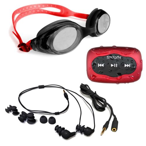 Swimbuds Headphones and 8 GB SYRYN waterproof MP3 player