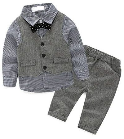 Abolai Baby Boys' 3 Piece Vest Set with Shirt-Baby Suits