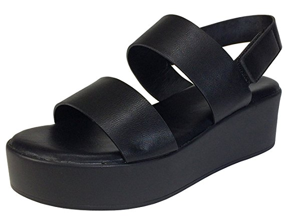 Bamboo Women's Double Band Platform Footbed Sandal with Ankle Strap