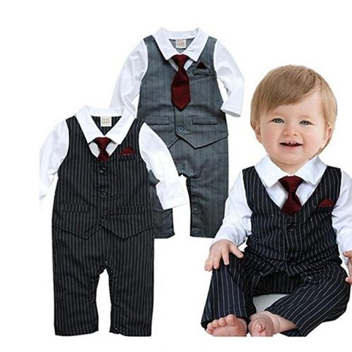 EGELEXY Baby Tie Striped Vest Formal Wear Wedding Baby Boy Romper Oneise