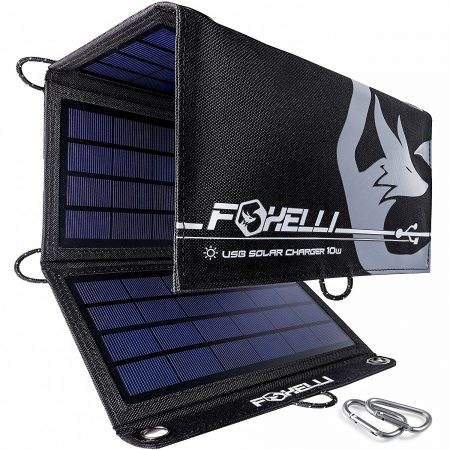 Foxelli Dual USB Solar Charger 10W - Foldable Solar Panel Phone Charger for iPhone X, 8, 7, 6s, iPad & Android