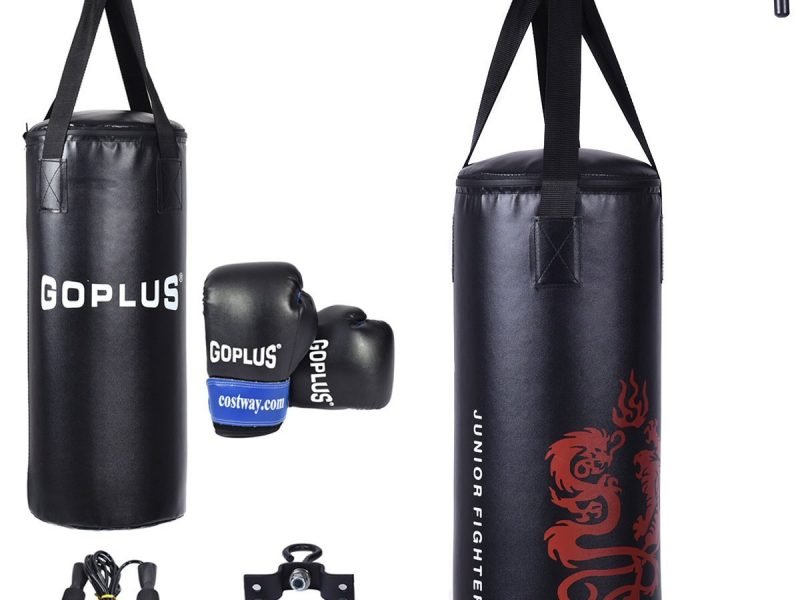 Gymax Boxing Punching Bag Set w/Punch Bag, Gloves