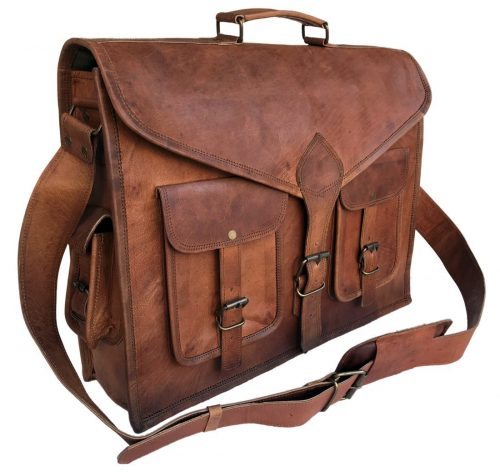 KPL 18 Inch Rustic Vintage Leather Messenger Bag Laptop Bag Briefcase Satchel bag-Leather Messenger Bags