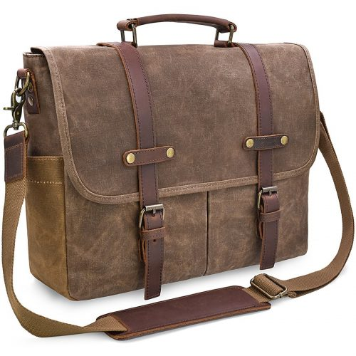 Mens Messenger Bag 15.6 Inch Waterproof Vintage Genuine Leather Waxed