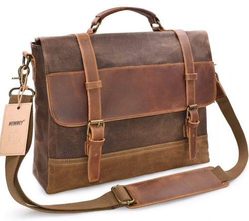 NEWHEY Mens Messenger Bag Waterproof Canvas Leather Computer Laptop Bag 15.6