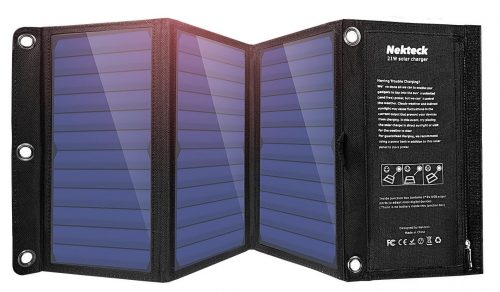 Nekteck 21W Solar Charger with 2-Port USB Charger Build with High efficiency Solar-Solar Phone Chargers