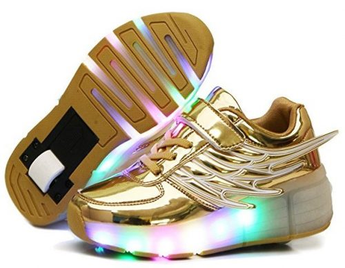 Nsasy YCOMI Unisex Boy's Girl's LED Light up Single Wheel Double Wheel Shoes Roller Shoes Roller Sneakers-Light Up Shoes