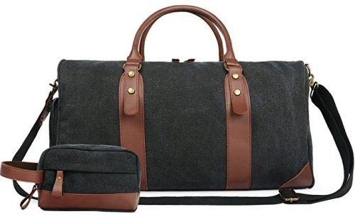 "Oflamn 21"" Large Duffle Bag Canvas Leather Weekender Overnight Travel Carry On Bag"