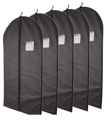 "Plixio Breathable 40"" Black Garment Bags for Storage of Suits or Dresses"