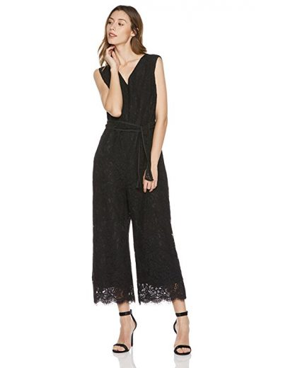 Savoir Faire Dresses Women's Sleeveless Lace V-Neck Belted Jumpsuit