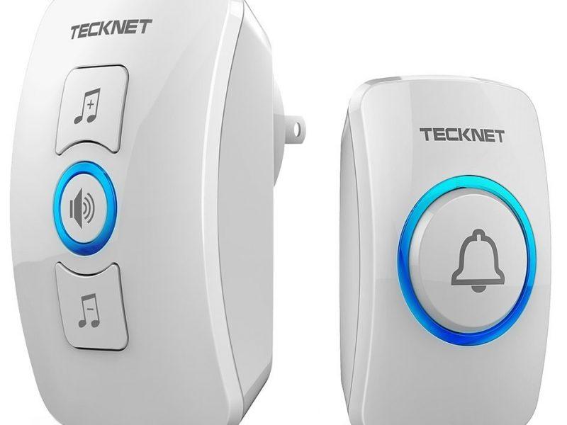 Wireless Doorbell, TeckNet Waterproof Wireless Door Bell Chime Kit with LED Light
