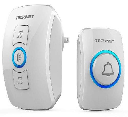 Wireless Doorbell, TeckNet Waterproof Wireless Door Bell Chime Kit with LED Light-Wireless Doorbells
