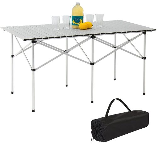 Best Choice Products 55in Portable Roll-Up Aluminum Camping Picnic Table w/Carrying Bag