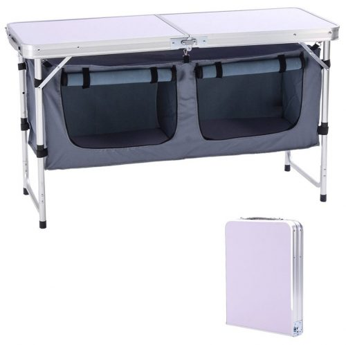 CampLand Outdoor Folding Table Aluminum Lightweight Height Adjustable