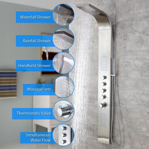 "Decor Star 004-SS 63"" Stainless Steel Rainfall-Shower Panels"