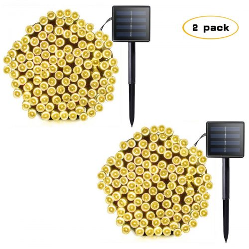 Lalapao 2 Pack Solar Xmas String Lights 72ft 22m 200 LED 8 Modes Solar Powered Starry Lighting