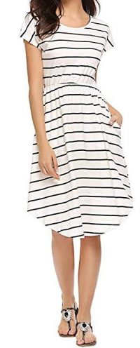 Qearal Women Summer Short Sleeve Striped Loose Swing T-Shirt Midi Dress with Pockets