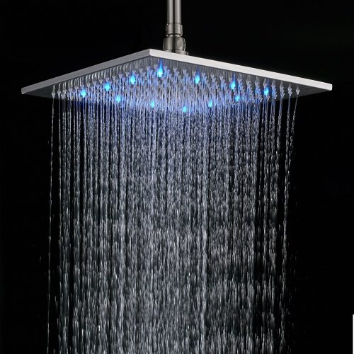 Rozin 16-inch Brushed Nickel Brass Rain Shower Head LED Colors Top Sprayer