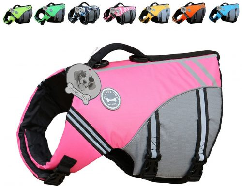 Vivaglory New Sports Style Ripstop Dog Life Jacket with Superior Buoyancy & Rescue Handle