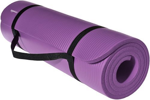 AmazonBasics 1/2-Inch Extra Thick Exercise Mat with Carrying Strap, Purple-Thick Yoga Mats