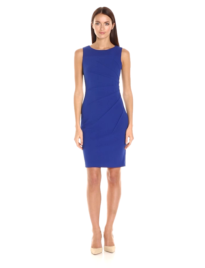 Calvin Klein Women's Round Neck Sleeveless Sheath with Starburst Detail