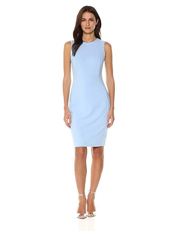 Calvin Klein Women's Scuba Crepe Sleeveless Princess Seam Sheath Dress-Sheath Dresses