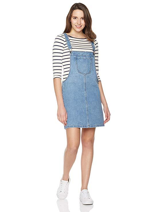 Lily Parker Women's Classic Adjustable Strap Denim Overall Dress-Denim Dresses