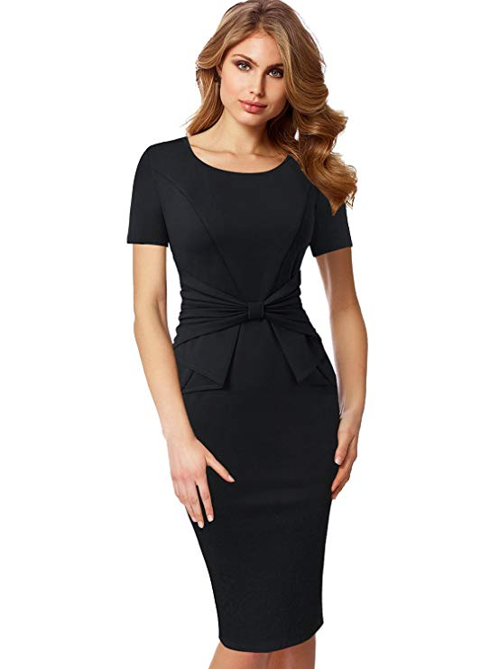 VFSHOW Womens Short Sleeves Pleated Bow Wear to Work Church Sheath Dress