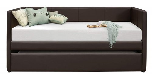 Homelegance Adra Fully Upholstered Daybed with Roll Out Trundle Bi-cast Vinyl Twin, Dark Brown-Trundle Beds