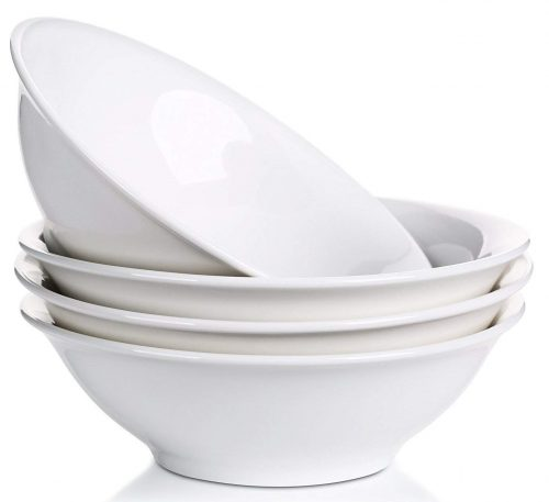 Lifver 42-Oz Porcelain Soup/Noodle/Cereal Bowl,Elegant White,Set of 4 Serving Bowls