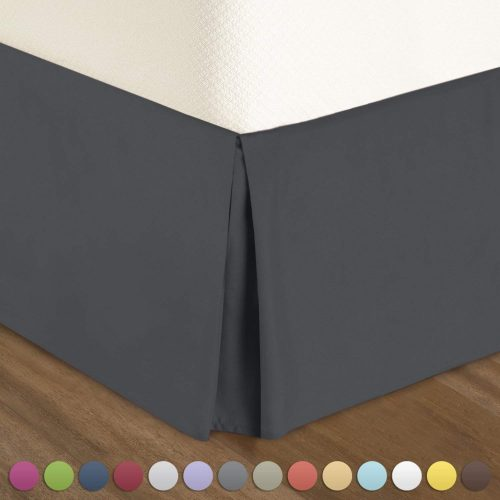"Nestl Bedding Pleated Bed Skirt - Luxury Microfiber Dust Ruffle, 14"" Tailored Drop, Full, Gray"
