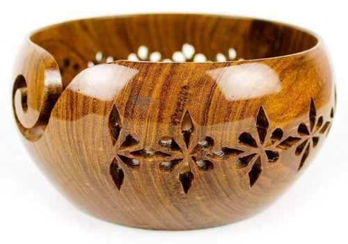Rosewood Crafted Wooden Yarn Storage Bowl with Carved Holes & Drills