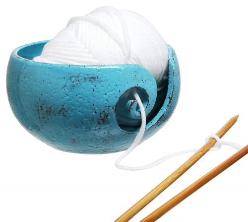 Rustic Handcrafted Ceramic Knitting Yarn Bowl Holder with Elegant Swirl Design