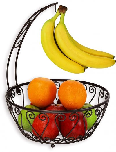 SimpleHouseware Fruit Basket Bowl with Banana Tree Hanger