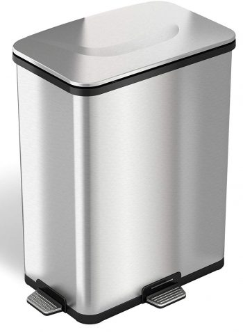 iTouchless AutoStep PRO Automatic Step Trash Can with Odor Control System-Stainless Steel Trash Cans