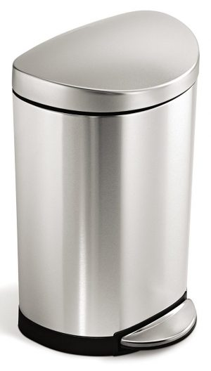 simplehuman 10 Liter / 2.3 Gallon Stainless Steel Small Semi-Round Bathroom Step Trash Can