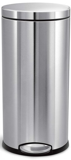 simplehuman 30 Liter / 8 Gallon Stainless Steel Round Kitchen Step Trash Can