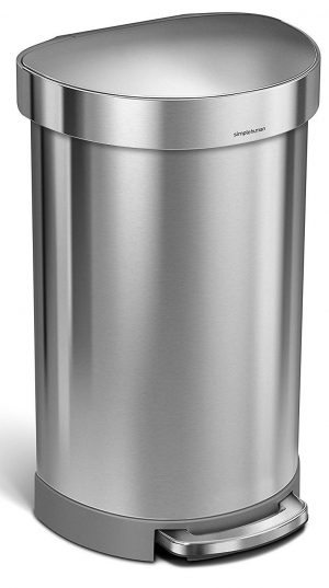 simplehuman 45 Liter / 12 Gallon Stainless Steel Semi-Round Kitchen Step Trash Can with Liner Rim
