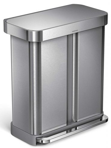 simplehuman 58 Liter/15.3 Gallon Step Can Liner Pocket, Brushed Stainless Steel Dual Compartment Recycler