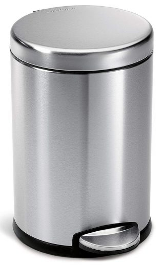 simplehuman Round Step Trash Can, Fingerprint-Proof Brushed Stainless Steel