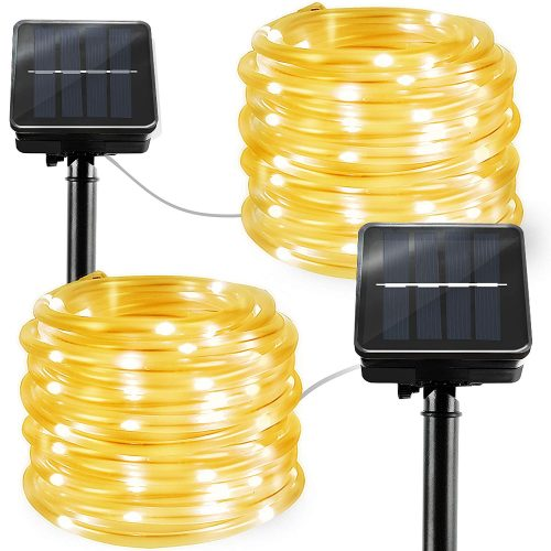 2 Pack Solar Rope Lights 23FTx2 Outdoor LED String Lights Decorative Lights for Garden Patio Party Yard Warm White-Solar Rope Lights