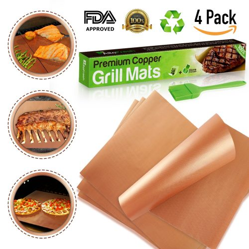 Alto Fresh Large Copper Grill & Bake Mats with Silicone Oil Brush Set of 4
