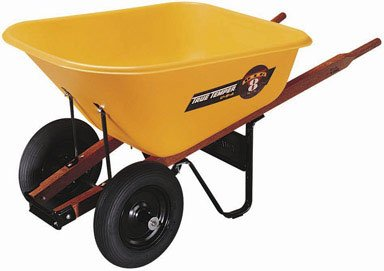 Ames True Temper 8 Cubic Foot Poly Tray Dual Wheel Contractor Wheelbarrow BP8